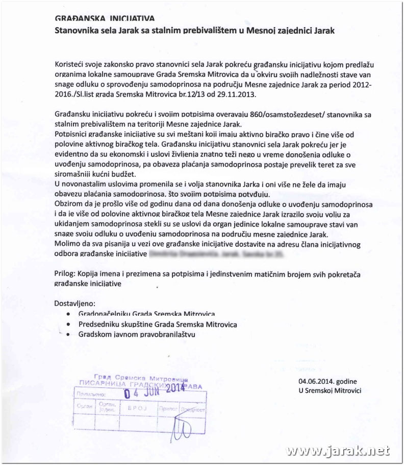 Zahtev za ukidanje samodoprinosa u Jarku